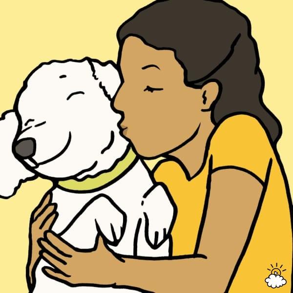 dog kiss face