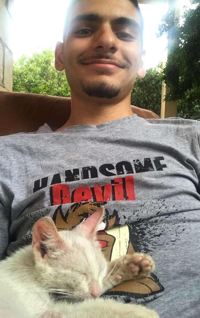 guy finds stray kitten nap